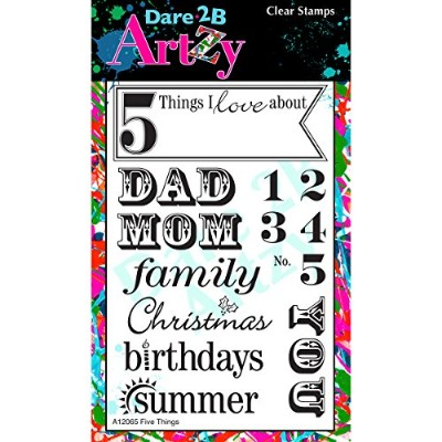 """Dare 2B Artzy Clear Stamps 4""""X6"""" Sheet-Five Things"""