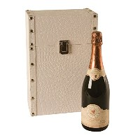 Cream Faux Leather Two Bottle Wine Trunk 9-Inch by 5-Inch by 13-3/4-Inch [並行輸入品]