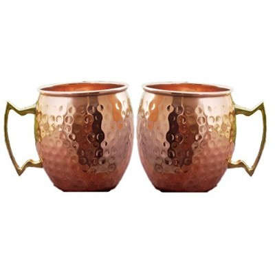 (2) - STREET CRAFT Large Pure Copper Mugs,Hand Hammered Copper Moscow Mule Mug Handmade of 100%...