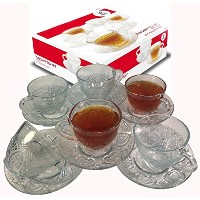 Cup & Saucer Set Glass Tea Coffee Cup Glass Saucer 12 Piece Cup & Saucer Set by Ronnelli