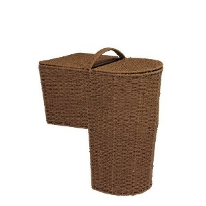 Household Essentials Woven Paper Rope Lined Stairstep Basket with Lid, Dark Brown Stain [並行輸入品]