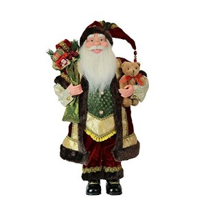 "24 "" StandingファブリックSanta Figurine with Teddy Bear and Toyバッグ図装飾52401 24インチ"