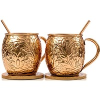 Premium Moscow Mule Copper Mugs Gift Set of 2, Handmade With 100% Pure Copper Mugs, Comes With...