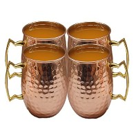 STREET CRAFT Authentic Hand Hammered Pure Copper Moscow Mule Mug with,Copper Moscow Mule Mugs /...