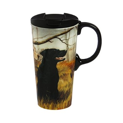 Cypress Home Black and Yellow Labs Ceramic Travel Coffee Mug, 17 ounces by Cypress