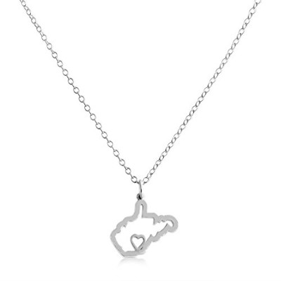 925 Sterling Silver Small West Virginia -Home Is Where the Heart Is- Home State Necklace (14 Inches)