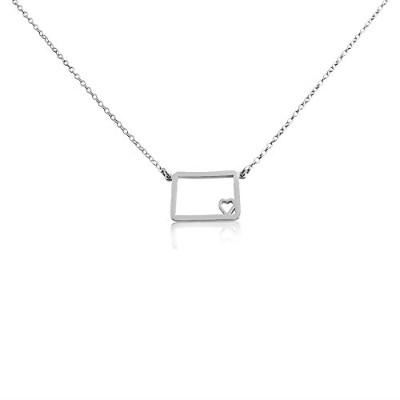 925 Sterling Silver Small Colorado -Home Is Where the Heart Is- Home State Necklace (20 Inches)