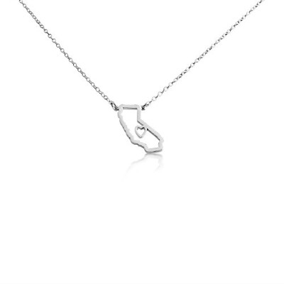 925 Sterling Silver Small California -Home Is Where the Heart Is- Home State Necklace (16 Inches)