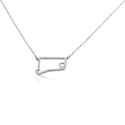 925 Sterling Silver Small Connecticut -Home Is Where the Heart Is- Home State Necklace (16 Inches)