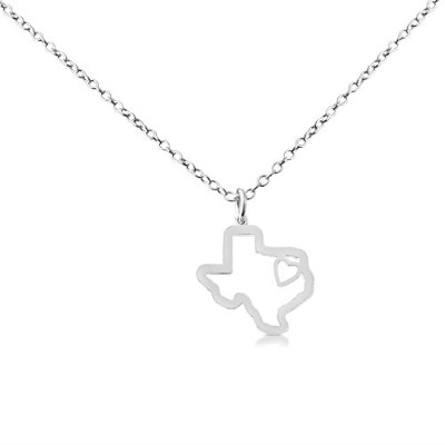 925 Sterling Silver Small Texas -Home Is Where the Heart Is- Home State Necklace (14 Inches)