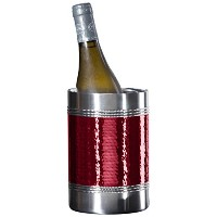 Oggi Hammered Beaded Double Wall Wine Cooler, Red [並行輸入品]