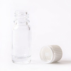 10ml Clear Glass Boston Round Bottle (With White Tamper Evident Cap & Dropper) (1,600)