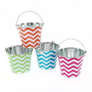DEI Tin Chevron Pattern Bucket (Set of 4), 6.5 x 5.5' [並行輸入品]