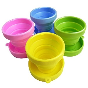 Travel Collapsible Cup | Cute Folding Colorful High Quality Silicone Stain Proof 5.7Oz Tumbler |...