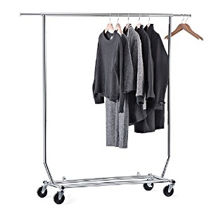 HOUSE DAY Clothing Rack Collapsible Commercial Grade Rolling Garment Rack with 1pc Natural Wonder...