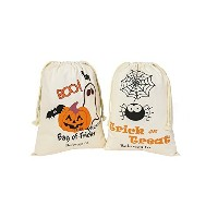PJS-MAX Halloween Candy Bags Natural Cotton Material Fastened Thread Bear 44 Ibs with Drawstring...