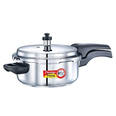 Prestige Alpha PRSDA-3L Induction Base Stainless Steel Deluxe Pressure Cooker, 3 L/Small, Silver ...