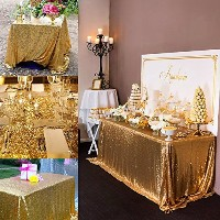 Sparkly Drape tablecloth Gold tablecloth Sequin Fabric tablecloth for Ceremony/Party/Halloween...