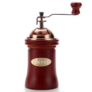 3E Home Manual Canister Ceramic Burr Coffee Mill Grinder, Stainless Steel Top, and Solid Wood Body ...