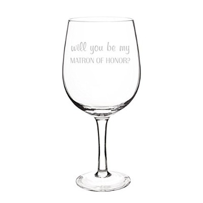 Cathy's Concepts Will You Be My Matron of Honor? X-Large Wine Glass, Clear [並行輸入品]