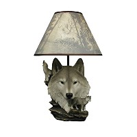 ih casa dcor DW-24892 Resin Wolf Lamp with Shade by ih casa dcor