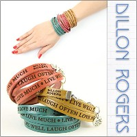 [ディロン・ロジャース]DILLON ROGERS レザー ブレスレット WRAP AROUND LETHER BRACELETS LIVE WELL SADDLE