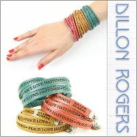 [ディロン・ロジャース]DILLON ROGERS レザー ブレスレット WRAP AROUND LETHER BRACELETS PEACE LOVE SADDLE