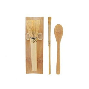 BambooMN Brand - 1 Set - Skinny Golden Chasen (Tea Whisk) + Tray + Chashaku (Hooked Bamboo Scoop)...