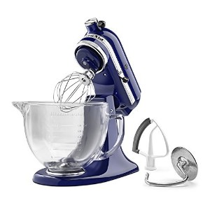 KitchenAid KSM105GBCBU 5-Qt. Tilt-Head Stand Mixer with Glass Bowl and Flex Edge Beater - Cobalt...