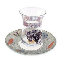AdorableガラスキッドゥーシュDesigned WithブルーandベージュカラーLeaves with Grapes and Beaded Saucer