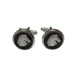 ブラックandシルバーToned Horse Head Cufflinks