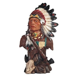 StealStreet Native American Indian Warrior with Pipe Bust Statue Figurine, 13' [並行輸入品]