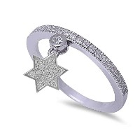 Micro Pave Cubic Zirconia Band with Star of David。925スターリングシルバーリングサイズ4 – 10