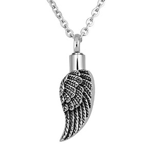 LovelyJewelry Angel Wing Cremation UrnアッシュホルダーハートMemorial Funnelペンダントネックレス