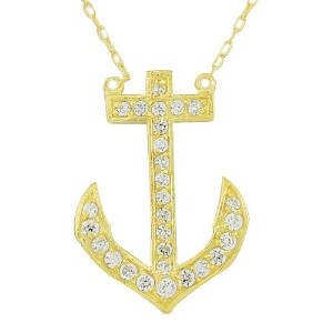 925 Sterling Silver Yellow Gold-Tone CZ Anchor Pendant Necklace