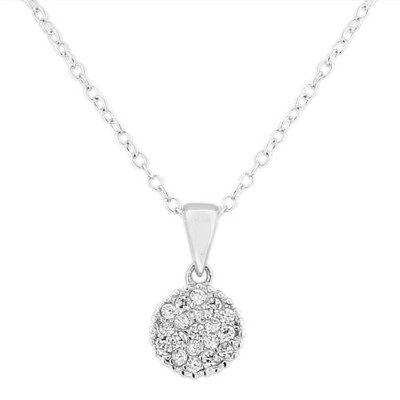 925 Sterling Silver Round Charm White CZ Pendant Necklace with Chain