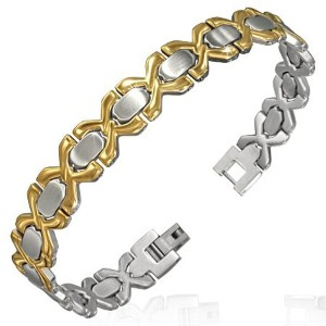 Stainless Steel Two-Tone Unisex Link Chain Bracelet with Clasp