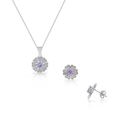 925 Sterling Silver White Purple Amethyst-Tone CZ Love Heart Flower Stud Earrings Pendant Necklace...