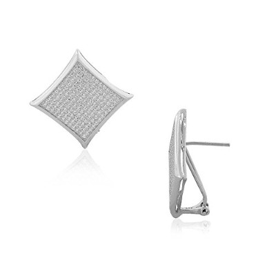 925 Sterling Silver Diamond-Shape CZ Large Statement Stud Earrings