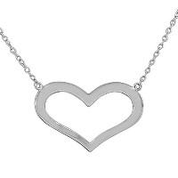 925 Sterling Silver Silver Open Love Heart Polished Classic Pendant Necklace with Chain