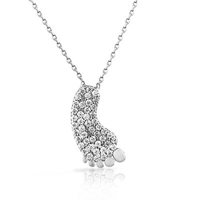 925 Sterling Silver White CZ Foot Pendant Necklace with Chain