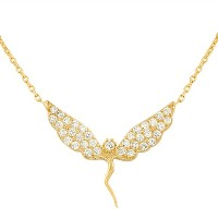925 Sterling Silver Yellow Gold-Tone Fairy Girl Charm White CZ Pendant Necklace with Chain
