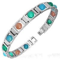 Stainless Steel Silver-Tone Multicolor Glass Beads Link Unisex Bracelet