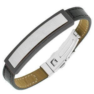 Stainless Steel Black Leather Silver-Tone Men's Bracelet