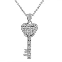 925 Sterling Silver Love Heart Key Charm White CZ Pendant Necklace with Chain