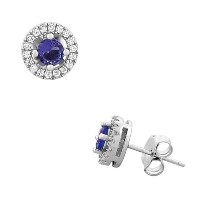 925 Sterling Silver Round Violet Purple White CZ Stud Earrings