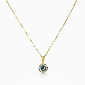 925 Sterling Silver Yellow Gold-Tone White CZ Evil Eye Pendant Necklace