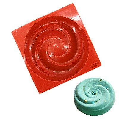 New Arrival Wine Red Silicone 3D Circular Spiral Vortex Design Mold for Mousse Cake Pudding...