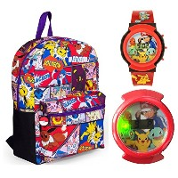 """Pokemon 16"""" Comic Printバックパックwith Flashing Watch–キッズ"""