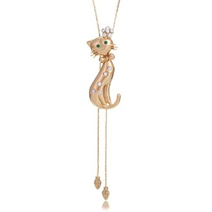 """Happy Crystal Cat 34"""" Lariat Necklace Gold tone in Box"""